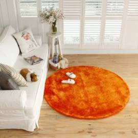 Round Orange Microfiber Carpet