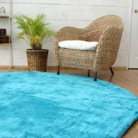 Soft Modern Microfiber Blue Carpet