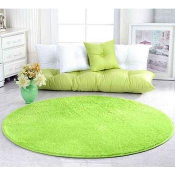 Sweet Green Microfibre Round Carpet