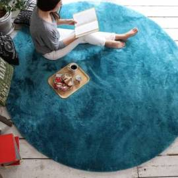 Ковер мягкий голубой Round Blue Sky Carpet